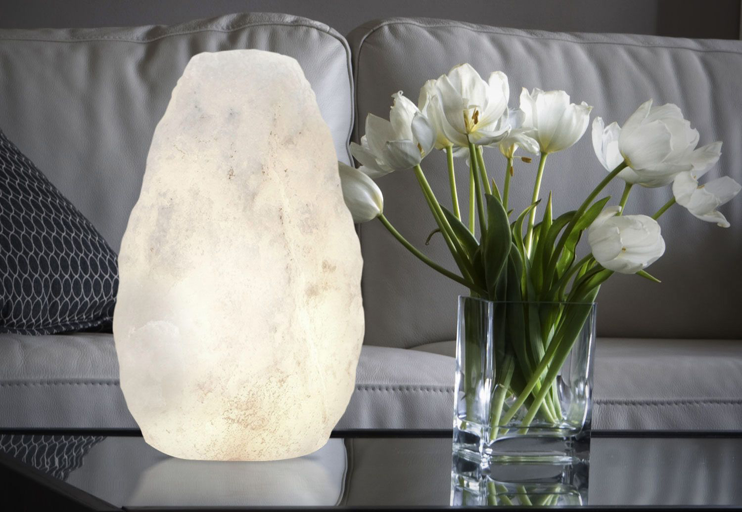 white crystal himalayan salt lamp